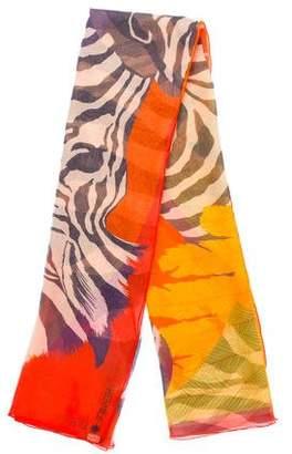 Hermes Zebra Pegasus Silk Mousseline Shawl w/ Tags