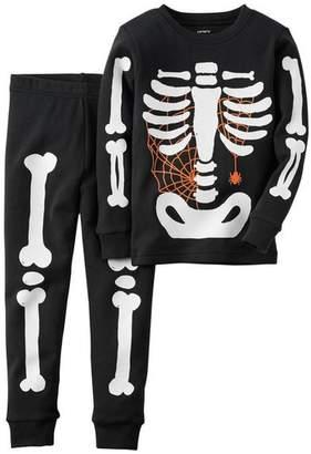 Carter's Boy's Black Halloween Glow-in-the-Dark Skeleton Pajama Pj Set