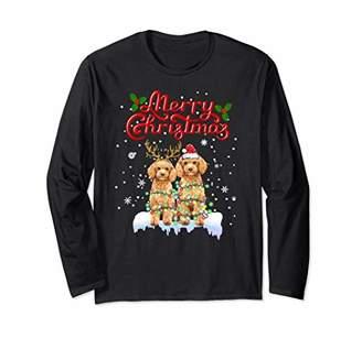 Christmas Dog Santa Party Lights Xmas Poodle Lovers Gifts Long Sleeve T-Shirt