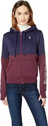 U.S. Polo Assn. Women's Two Color Sherpa Lined Fleece Hooded Jacket