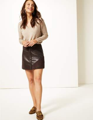 Marks and Spencer Faux Leather A-Line Mini Skirt