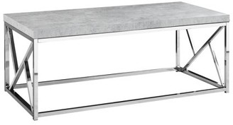 Monarch Specialties COFFEE TABLE - GREY CEMENT WITH CHROME METAL