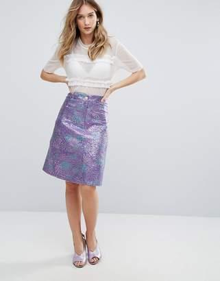 Traffic People Jacquard Bloom Midi Skirt
