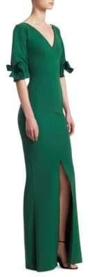 Chiara Boni Three-Quarter Sleeve V-Neck Gown