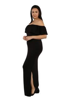979f3502e41 24 7 Comfort Apparel Maternity Maxi Dress Long Cool Woman Off The Shoulder Pregnancy  Clothes