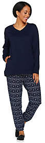 Stan Herman Petite Ikat Diamond French TerryTunic & Jogger