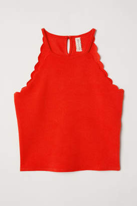 H&M Scallop-edged Top - Red