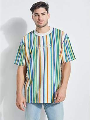 GUESS Men's Short Sleeve Riviera Stripe Crew Neck Shirt