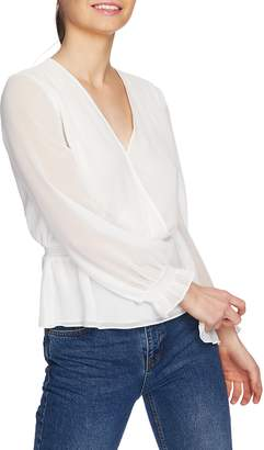 1 STATE 1.STATE Faux Wrap Peplum Blouse