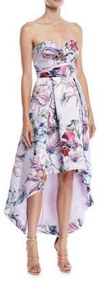 Parker Black Clemson High-Low Dress w/ Floral Print
