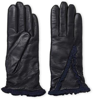 Lab Srl Black Leather Ruffle Gloves