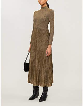 Sandro Pleated-skirt metallic knitted dress