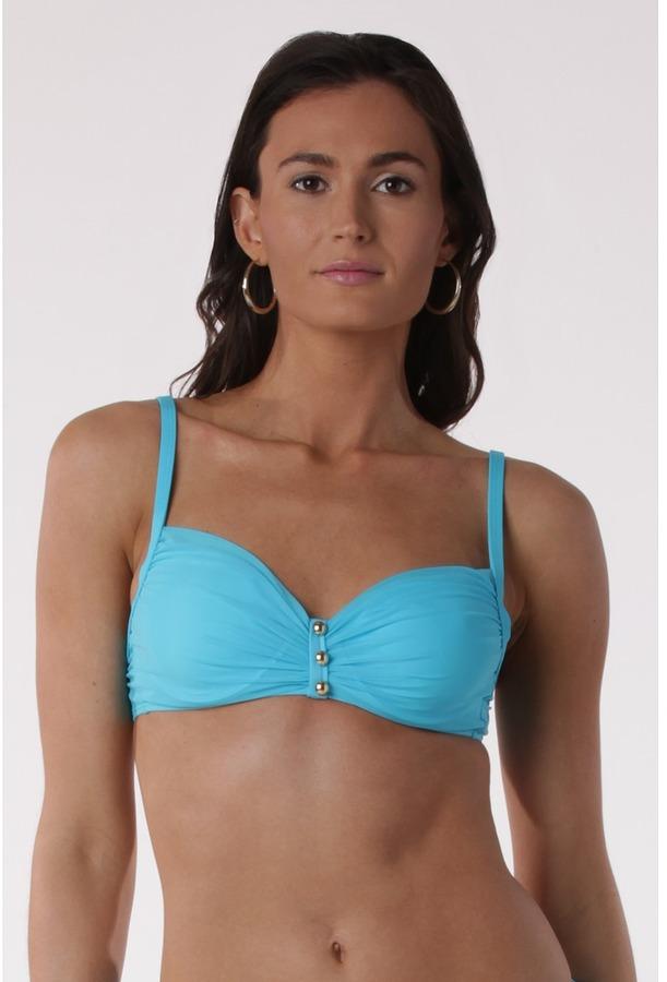 Lauren Ralph Lauren Mesh Solids Underwire Bra (Resort Blue) - Apparel