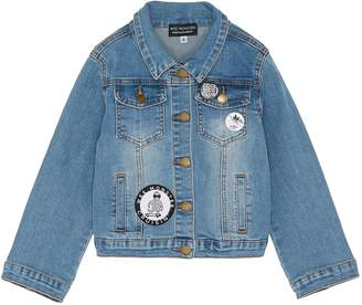 Wee Monster Mix appliqué kids denim jacket