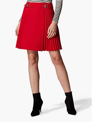 Karen Millen Pleated Mini Skirt, Bright Red