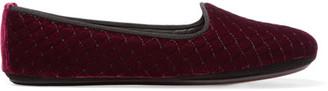 Bottega Veneta - Embroidered Velvet Slippers - Burgundy $590 thestylecure.com
