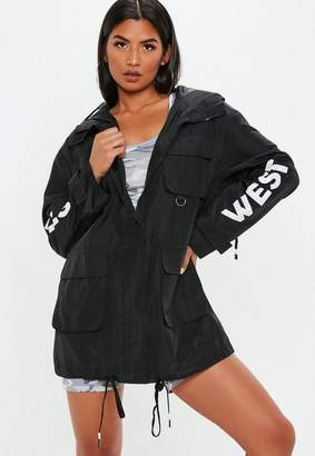 Missguided Black West Hills Graphic Parka