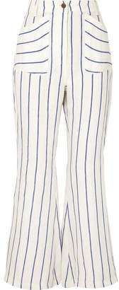 Rosie Assoulin Striped Linen Flared Pants - Blue