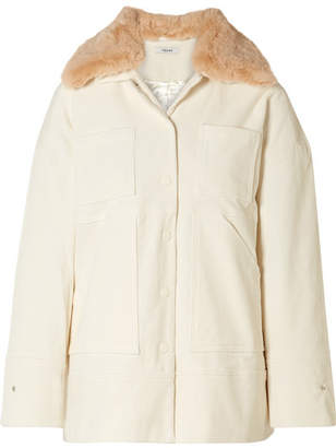 Ganni Ridgewood Faux Fur-trimmed Cotton-blend Corduroy Jacket - Cream