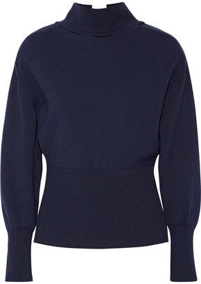 Jacquemus - Tie-back Wool Turtleneck Sweater - Midnight blue $525 thestylecure.com