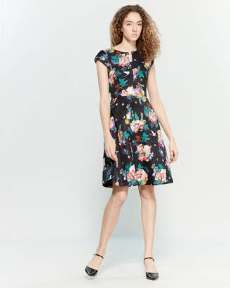 Yumi Floral Jacquard Fit & Flare Dress