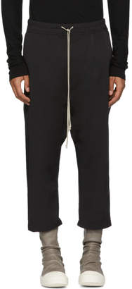 Rick Owens Black Nylon Drawstring Cropped Lounge Pants