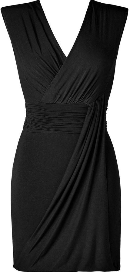 Bailey 44 Black Draped V-Neck Jersey Dress