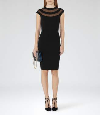 Reiss KARRI SHEER-PANEL BODYCON DRESS Black