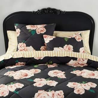 Pottery Barn Teen The Emily &amp Meritt Bed of Roses Comforter, Twin/Twin XL, Black/Blush