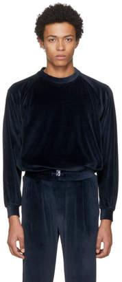 Sunnei Navy Velour Sweatshirt