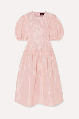 Simone Rocha Pintucked Taffeta Midi Dress - Pink