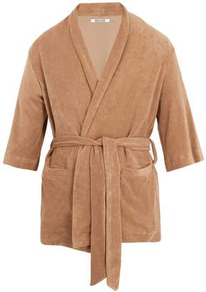 HECHO Shawl-collar French terry-towelling robe