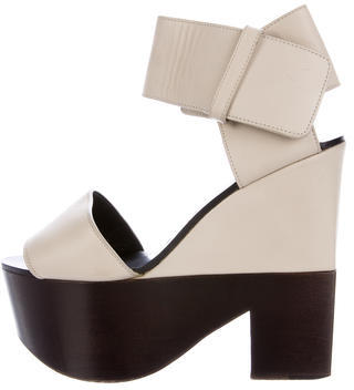 Celine Céline Leather Platform Sandals