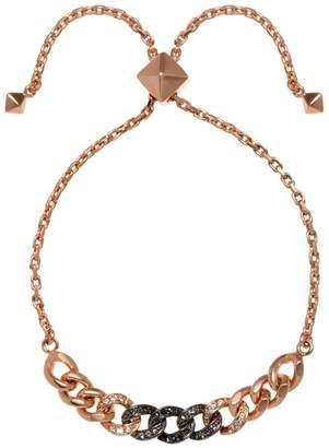 Karl Lagerfeld Paris Essentials Rosegold Crystal and Jet Hematite Crystal Ombre Chain Slider Bracelet