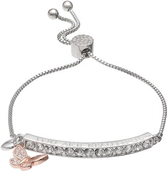 "Brilliance+ Brilliance ""You Are Beautiful"" Bar Bracelet with Swarovski Crystals"