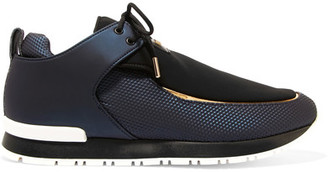 Balmain - Doda Leather And Neoprene Sneakers - Navy $870 thestylecure.com