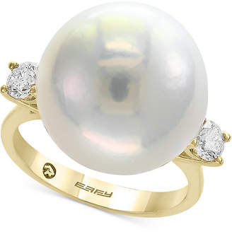 Effy Pearl by Cultured Freshwater Pearl (15-1/2mm) & Diamond (3/8 ct. t.w.) Ring in 14k Gold