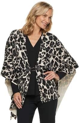 Dana Buchman Women's Leopard Draped Poncho
