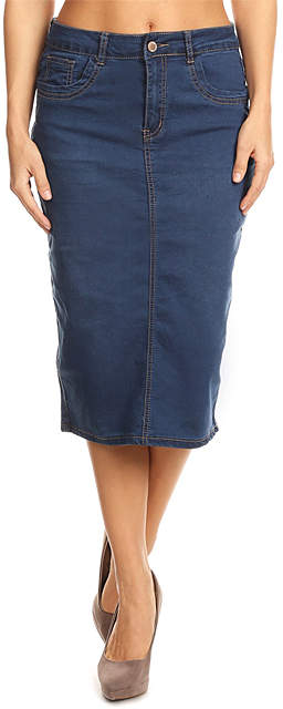 Blue Long Denim Skirt - Women, Juniors & Plus