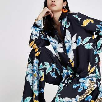 River Island Womens Navy floral satin knot front shirt