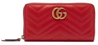 Gucci Gg Marmont Quilted Leather Continental Wallet - Womens - Red