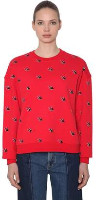 McQ Swallows Flocked Cotton Sweatshirt