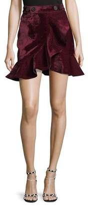 Self-Portrait Velvet Flounce Mini Skirt
