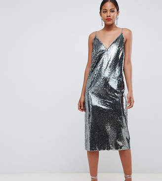 Asos Tall DESIGN Tall all over sequin cami midi dress