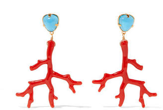 Kenneth Jay Lane Gold-tone Enamel Earrings - Coral