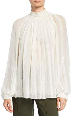 Derek Lam Long-Sleeve Embroidered Gauze Trapeze Blouse