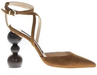Jacquemus Camel Suede Asymmetric Heel Pumps