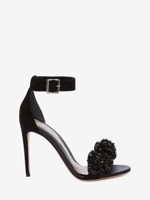 Alexander McQueen Pin Heel Crystal Bow Sandal