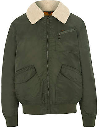 River Island Lee khaki green borg collar coach jacket