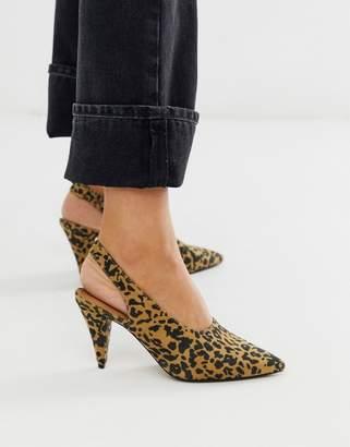 Asos Design DESIGN Stormie slingback mid heels in leopard